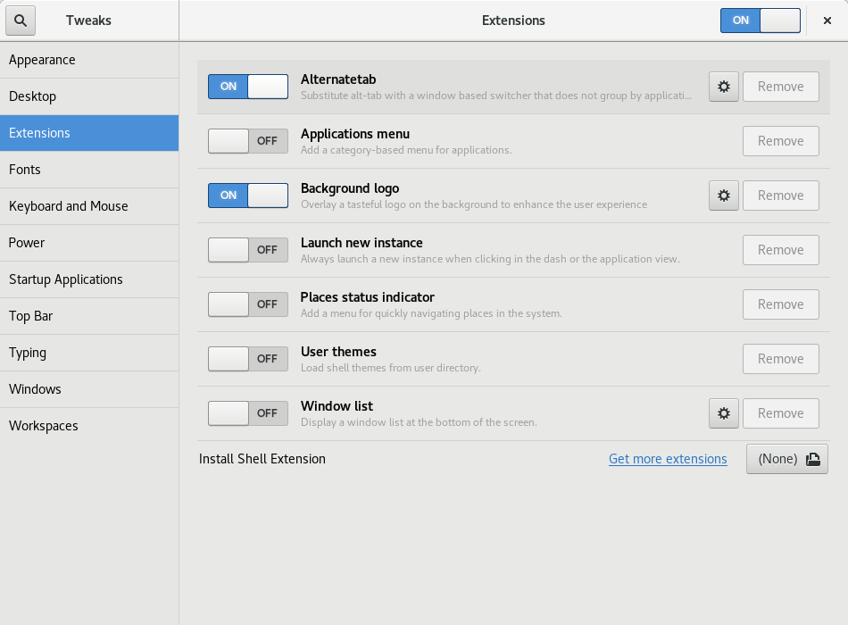 Alternate Tab extension in GNOME Tweak Tool