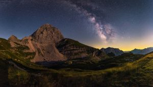 Milky Way over the Mangart by Ales Krivec