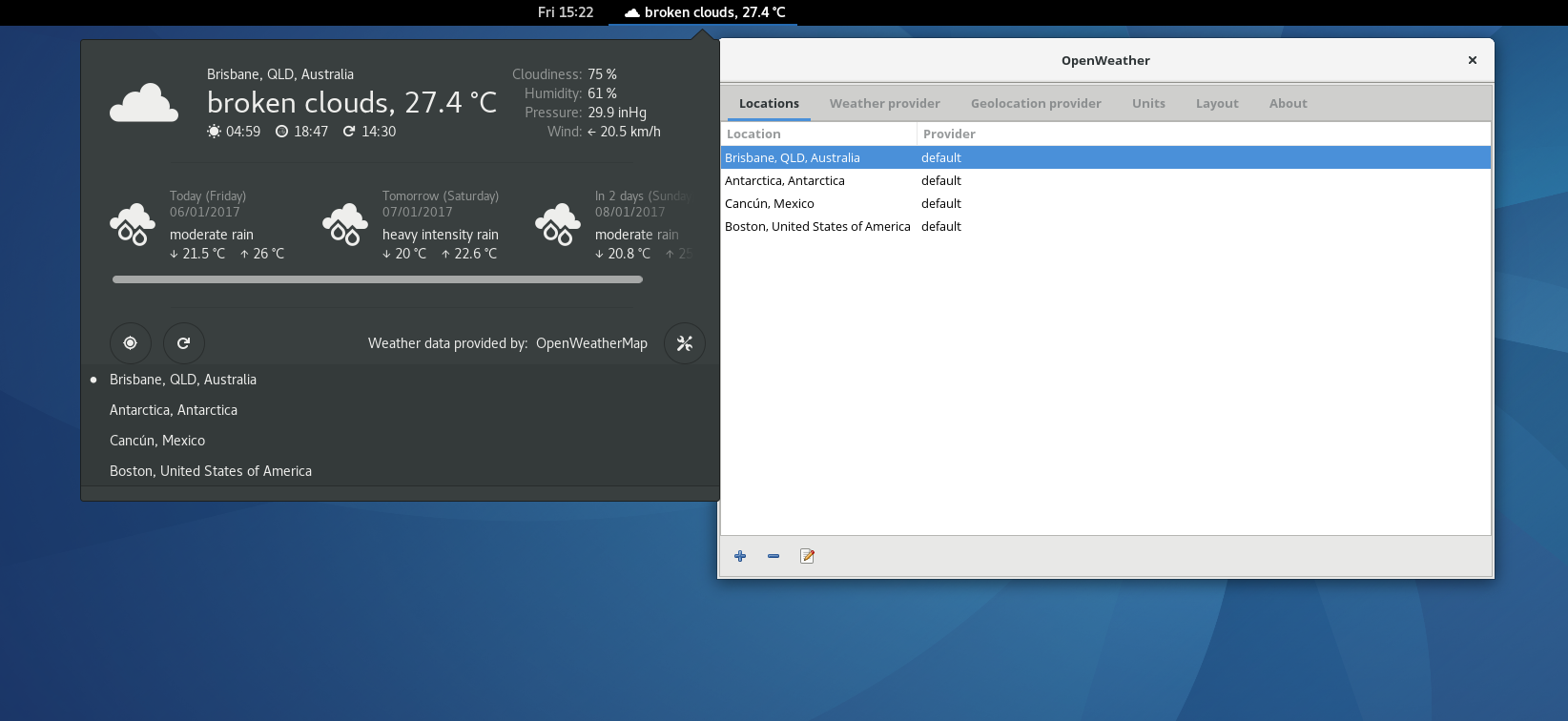 Weather updates with OpenWeather GNOME Shell extension